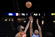 Joe Johnson #1 of Triplets takes a jump shot over C.J. Leslie #5 of Bivouac during week three of the BIG3 three on three basketball league at State Farm Arena on July 07, 2019 in Atlanta, Georgia.