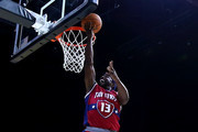Mike James #13 of Tri-State attempts a shot while being guarded by Chauncey Billups #1 of the Killer 3s during week three of the BIG3 three on three basketball league at BOK Center on July 9, 2017 in Tulsa, Oklahoma.