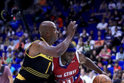 Mike James #13 of Tri-State dribbles the ball while being guarded by Chauncey Billups #1 of the Killer 3s during week three of the BIG3 three on three basketball league at BOK Center on July 9, 2017 in Tulsa, Oklahoma.