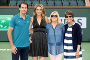 Tournament Director Tommy Haas, Daniela Hantuchova of Slovakia, Mariane Hantuchova and Assistant Tournament Director Peggy Michel during the BNP Paribas Open at the Indian Wells Tennis Garden on March 8, 2018 in Indian Wells, California.
