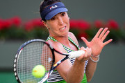 Jelena Jankovic of Serbia hits a forehand in her losing match to Venus Williams during the BNP Paribas Open at Indian Wells Tennis Garden on March 11, 2017 in Indian Wells, California.