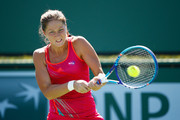 Bojana Jovanovski of Serbia in action against Belinda Bencic of Switzerland during day six of the BNP Paribas Open tennis at the Indian Wells Tennis Garden on March 14, 2015 in Indian Wells, California.