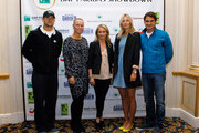 (L-R) Andy Roddick, Caroline Wozniacki, Actress Christine Taylor, Maria Sharapova and Roger Federer pose for a photo prior to a press conference for the BNP Paribas Showdown on March 5, 2012 at the Essex House in New York City.