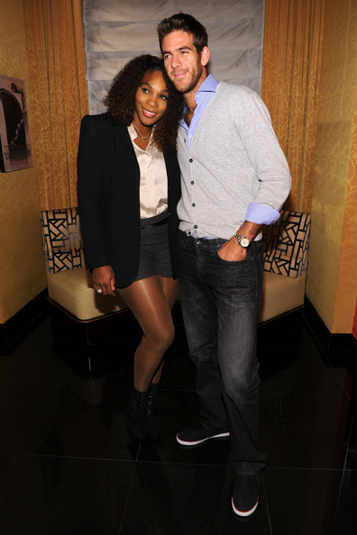 (L-R) Tennis players Serena Williams and Juan Martin del Potro attend the BNP Paribas Tennis Showdown cocktail party at Essex House on March 3, 2013 in New York City.