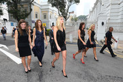 Simona Halep of Romania, Lucie Safarova of Czech Republic, Petra Kvitova of Czech Republic, Agnieszka Radwanska of Poland and Angelique Kerber of Germany attend the official photo shoot for the BNP Paribas WTA Finals at the National Gallery on October 23, 2015 in Singapore.