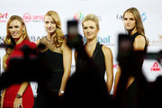 Caroline Wozniacki of Denmark, Petra Kvitova of the Czech Republic, Elina Svitolina of the Ukraine and  Karolina Pliskova of the Czech Republic on stage during the Official Draw Ceremony and Gala of the BNP Paribas WTA Finals Singapore presented by SC Global at Marina Bay Sands Hotel on October 19, 2018 in Singapore.