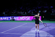 Angelique Kerber of Germany celebrates her win in her women's singles match against Naomi Osaka of Japan during day 4 of the BNP Paribas WTA Finals Singapore presented by SC Global at Singapore Sports Hub on October 24, 2018 in Singapore. at Singapore Sports Hub on October 24, 2018 in Singapore.