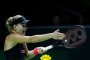 Angelique Kerber of Germany reacts to a call in her women's singles match against Naomi Osaka of Japan during day 4 of the BNP Paribas WTA Finals Singapore presented by SC Global at Singapore Sports Hub on October 24, 2018 in Singapore. at Singapore Sports Hub on October 24, 2018 in Singapore.