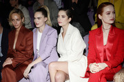 Amber Valletta, Cara Delevingne, Ashley Benson and Madelaine Petsch attend the BOSS fashion show during the Milan Fashion Week Fall/Winter 2020 - 2021 on February 23, 2020 in Milan, Italy.