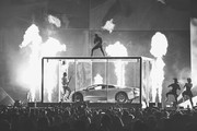 Image has been converted to black and white)  *** EDITORIAL USE ONLY IN RELATION TO THE BRIT AWARDS 2018 *** Kendrick Lamar performs at The BRIT Awards 2018 held at The O2 Arena on February 21, 2018 in London, England.