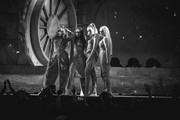 Image has been converted to black and white) (L-R) Jade Thirlwall, Leigh-Anne Pinnock, Perrie Edwards and Jesy Nelson of Little Mix perform during The BRIT Awards 2019 held at The O2 Arena on February 20, 2019 in London, England.