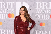 Kelly Brook attends The BRIT Awards 2019 held at The O2 Arena on February 20, 2019 in London, England.