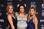 (L-R) Sarah-Jane Mee, Natalie Pinkham and Zoe Hardman pose on the red carpet at the BT Sport Industry Awards 2016 at Battersea Evolution on April 28, 2016 in London, England. The BT Sport Industry Awards is the most prestigious commercial sports awards ceremony in Europe, where over 1750 of the industry's key decision-makers mix with high profile sporting celebrities for the most important networking occasion in the sport business calendar.