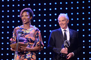 Tony Blair, former British Prime Minister and Denise Lewis present the Social and Sustainable Development Award  during the BT Sport Industry Awards 2019 at Battersea Evolution on April 25, 2019 in London, England. The BT Sport Industry Awards is the biggest commercial sports awards in the world and an annual showcase of the best of the sector's creative and commercial output. The event brings together sports stars, celebrities, industry leaders, influencers and media from around the world for what is always a highly anticipated occasion.