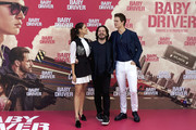 Actor Ansel Elgort (R), director Edgar Wright (L) and actress Eiza Gonzalez (C) attend 'Baby Driver' photocall at the Villamagna Hotel  on June 23, 2017 in Madrid, Spain.
