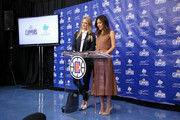 Kelly Sawyer Patricof and Norah Weinstein celebrate donation of One Million backpacks from Baby2Baby, Kawhi Leonard and the L.A. Clippers to students across Los Angeles at 107th Street Elementary on August 20, 2019 in Los Angeles, California.