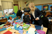 Kelly Sawyer Patricof celebrates donation of One Million backpacks from Baby2Baby, Kawhi Leonard and the L.A. Clippers to students across Los Angeles at 107th Street Elementary on August 20, 2019 in Los Angeles, California.