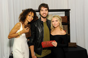 Actors Sherri Saum, David Lambert and Kaya Rosenthal attend the Backstage Creations retreat at Teen Choice 2015 at the Galen Center on August 16, 2015 in Los Angeles, California.