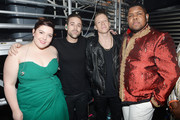 Mary Lambert, Ryan Lewis, Macklemore and Ray Dalton pose backstage at Z100's Jingle Ball 2013, presented by Aeropostale, at Madison Square Garden on December 13, 2013 in New York City.