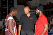 "(L-R) Aaron ""AO"" Owens of the Ball Up All-Stars, coach Tracy Murray and Baron Davis at the Ball Up Championship Game at Cal State Northridge on June 24, 2011 in Northridge, California."
