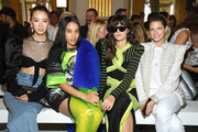 (L-R) Irene Kim, Aleali May, Eleonora Carisi and Helena Bordon attend the Balmain show as part of the Paris Fashion Week Womenswear Spring/Summer 2019 on September 28, 2018 in Paris, France.