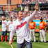 Jim Thome Photos - Former Cleveland Indian Jim Thome waves to the crowd during a ceremony celebrating his induction into the Hall of Fame prior to the game against the Baltimore Orioles at Progressive Field on August 18, 2018 in Cleveland, Ohio. - Baltimore Orioles vs. Cleveland Indians
