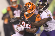 Shawn Williams #36 of the Cincinnati Bengals intercepts the football in front of John Brown #13 of the Baltimore Ravens during their game at Paul Brown Stadium on September 13, 2018 in Cincinnati, Ohio. The Bengals defeated the Ravens 34-23.