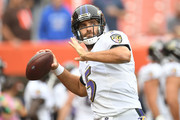 Joe Flacco #5 of the Baltimore Ravens warms up before the game against the Cleveland Browns at FirstEnergy Stadium on October 7, 2018 in Cleveland, Ohio.
