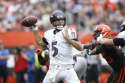 Joe Flacco #5 of the Baltimore Ravens throws a pass in the third quarter against the Cleveland Browns at FirstEnergy Stadium on October 7, 2018 in Cleveland, Ohio.