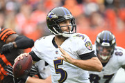 Joe Flacco #5 of the Baltimore Ravens throws a pass in the first half against the Cleveland Browns at FirstEnergy Stadium on October 7, 2018 in Cleveland, Ohio.