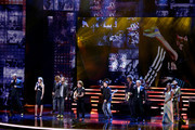 Peter Maffay, Laith Al-Deen, Uwe Ochsenknecht, Ilse DeLange, Johannes Oerding and others perform on stage during the Bambi Awards 2015 show at Stage Theater on November 12, 2015 in Berlin, Germany.