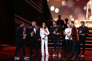 (L-R) Daniel Wirtz, Tobias Kuenzel, Sebastian Krumbiegel, Yvonne Catterfeld, Andreas Bourani, Christina Stuermer, Kai Pflaume and Hartmut Engler are seen on stage during the Bambi Awards 2015 show at Stage Theater on November 12, 2015 in Berlin, Germany.