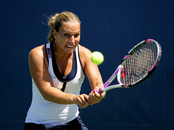 Dominika Cibulkova of Slovakia returns a shot to Samantha Stosur of Australia during their match on Day 2 of the Bank of the West Classic at Stanford University on July 28, 2009 in Stanford, California.