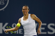 Francesca Schiavone of Italy competes against Kateryna Bondarenko of Ukraine during day 2 of the Bank of the West Classic at Stanford University Taube Family Tennis Stadium on August 1, 2017 in Stanford, California.