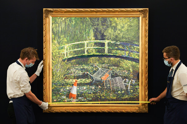 Banksy's 'Show Me The Monet' To Star In Sotheby's 'Modernites/Contemporary' Evening Sale Series [show me the monet to star in sothebys,botany,window,tree,picture frame,adaptation,visual arts,plant,leisure,glass,painting,banksy,estimate,quotation,punctuation,clip art,vector graphics,sothebys,modernites/contemporary evening sale series,evening auction,quotation mark,apostrophe,quotation,\u02bbokina,punctuation,clip art,hyphen,wikimedia foundation,wiktionary,scalable vector graphics]