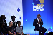 Former U.S. President Barack Obama speaks during the MBK Rising! My Brother's Keeper Alliance Summit on February 19, 2019 in Oakland, California. MBK Rising! is bringing together hundreds of young men of color, local leaders and organizations that are working to reduce youth violence, create impactful mentorship programs, and improving life for young men of color. The My Brother's Keeper initiative was started by President Barack Obama following the death of Trayvon Martin.