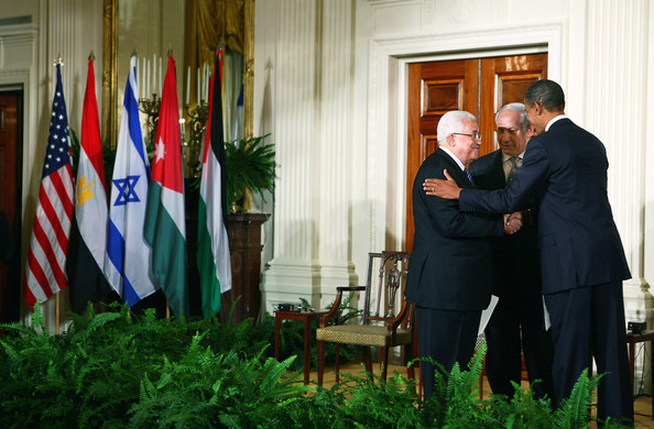 Barack Obama U.S. President Barack Obama (R) shakes hands with Palestinian Authority President Mahmoud Abbas (L) as Israeli Prime Minister Benjamin Netanyahu (C) looks on at the end of an East Room statement at the White House on the first day of the Middle East peace talks September 1, 2010 in Washington, DC. The White House has kicked off a new round of direct peace talks for the Middle East, the first one in more than 18 months.