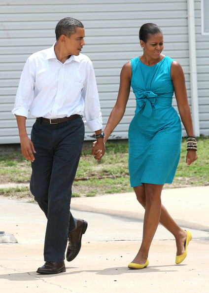 The Obamas Spend August Weekend On Florida's Gulf Coast [barack obama,michelle obama,obamas spend,base,afp out,cleanup efforts,tourism,clothing,blue,dress,turquoise,fashion,yellow,footwear,standing,formal wear,suit,florida,gulf coast,united states]