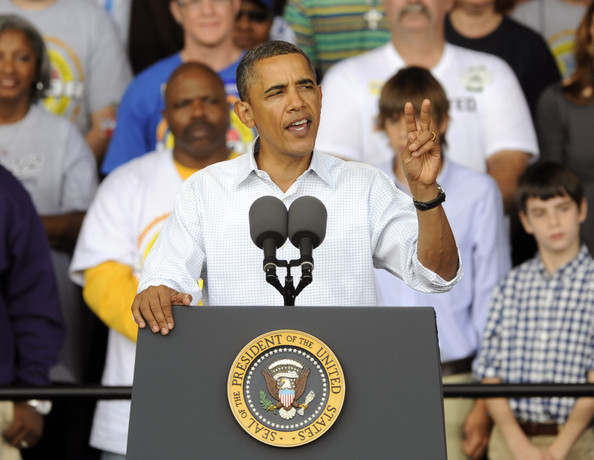 Barack Obama U.S. President Barack Obama gives a speech at a Labor Day rally September 6, 2010 in Milwaukee, Wisconsin. Obama unveiled a six-year, $50 billion proposal to improve the nation's highways, airports and railways in a long-term effort to create jobs and improve the economy.