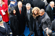 (L-R)Martin Luther King III, Rev. Al Sharpton, Beyonce and Jay-Z pose for a photo during the public ceremonial inauguration for U.S. President Barack Obama on the West Front of the U.S. Capitol January 21, 2013 in Washington, DC.   Barack Obama was re-elected for a second term as President of the United States.