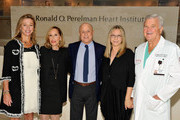 (L-R) Dr Holly Anderson, Claire Yaffa, Ronald O. Perelman, Barbra Streisand and Dr Wayne Isom visit the Ronald O. Perelman Heart Institute at New York Presbyterian Hospital on September 20, 2012 in New York City.
