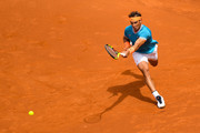 Rafael Nadal of Spain plays a forehand hand against David Ferrer of Spain during the round of 16 match on day two of the Barcelona Open Banc Sabadell at Real Club De Tenis Barcelona on April 25, 2019 in Barcelona, Spain.