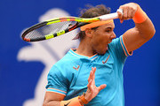 Rafael Nadal of Spain plays a forehand against David Ferrer of Spain during the round of 16 match on day two of the Barcelona Open Banc Sabadell at Real Club De Tenis Barcelona on April 25, 2019 in Barcelona, Spain.
