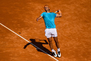 Rafael Nadal of Spain serves against Leonardo Mayer of the Argentina during the round of 32 match on day two of the Barcelona Open Banc Sabadell at Real Club De Tenis Barcelona on April 24, 2019 in Barcelona, Spain.