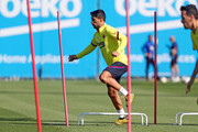 Luis Suarez of FC Barcelona works out during a training session at Ciutat Esportiva Joan Gamper on May 18, 2020 in Barcelona, Spain. Spanish LaLiga clubs are back training in groups of up to 10 players following the LaLiga's 'Return to Training' protocols.