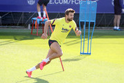 Gerard Pique of FC Barcelona sprints during a training session at Ciutat Esportiva Joan Gamper on May 22, 2020 in Barcelona, Spain. Spanish LaLiga clubs are back training in groups of up to 10 players following the LaLiga's 'Return to Training' protocols.
