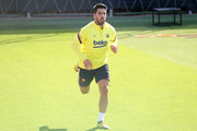 Luis Suarez of FC Barcelona sprints during a training session at Ciutat Esportiva Joan Gamper on May 22, 2020 in Barcelona, Spain. Spanish LaLiga clubs are back training in groups of up to 10 players following the LaLiga's 'Return to Training' protocols.