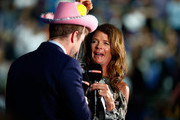 Sky Sports Presenters Annabel Croft (R) and Marcus Buckland (L) during an interview on day five of the Barclays ATP World Tour Finals at the O2 Arena on November 19, 2015 in London, England.
