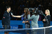 Novak Djokovic of Serbia is interviewed by Annabel Croft after the singles semi-final match against Kei Nishikori of Japan  on day seven of the Barclays ATP World Tour Finals at O2 Arena on November 15, 2014 in London, England.
