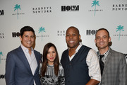 (L-R) Tom Bugbee, designer Monique Lhuillier, HOLA Executive Director Tony M. Brown and guest attend a cocktail event with Barneys New York and HOLA to celebrate the newly renovated Beverly Hills Flagship Store at Barneys New York Beverly Hills on October 15, 2014 in Beverly Hills, California.